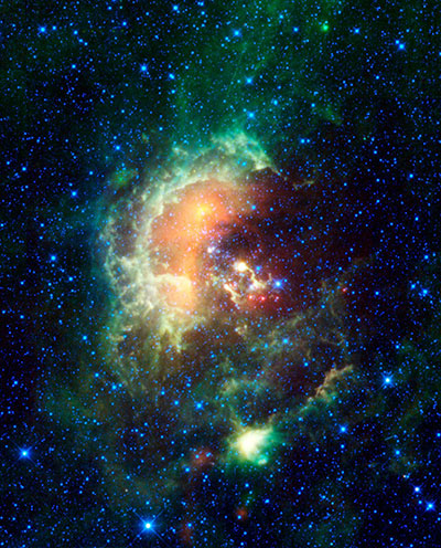 Asteroid marching across Tadpole Nebula